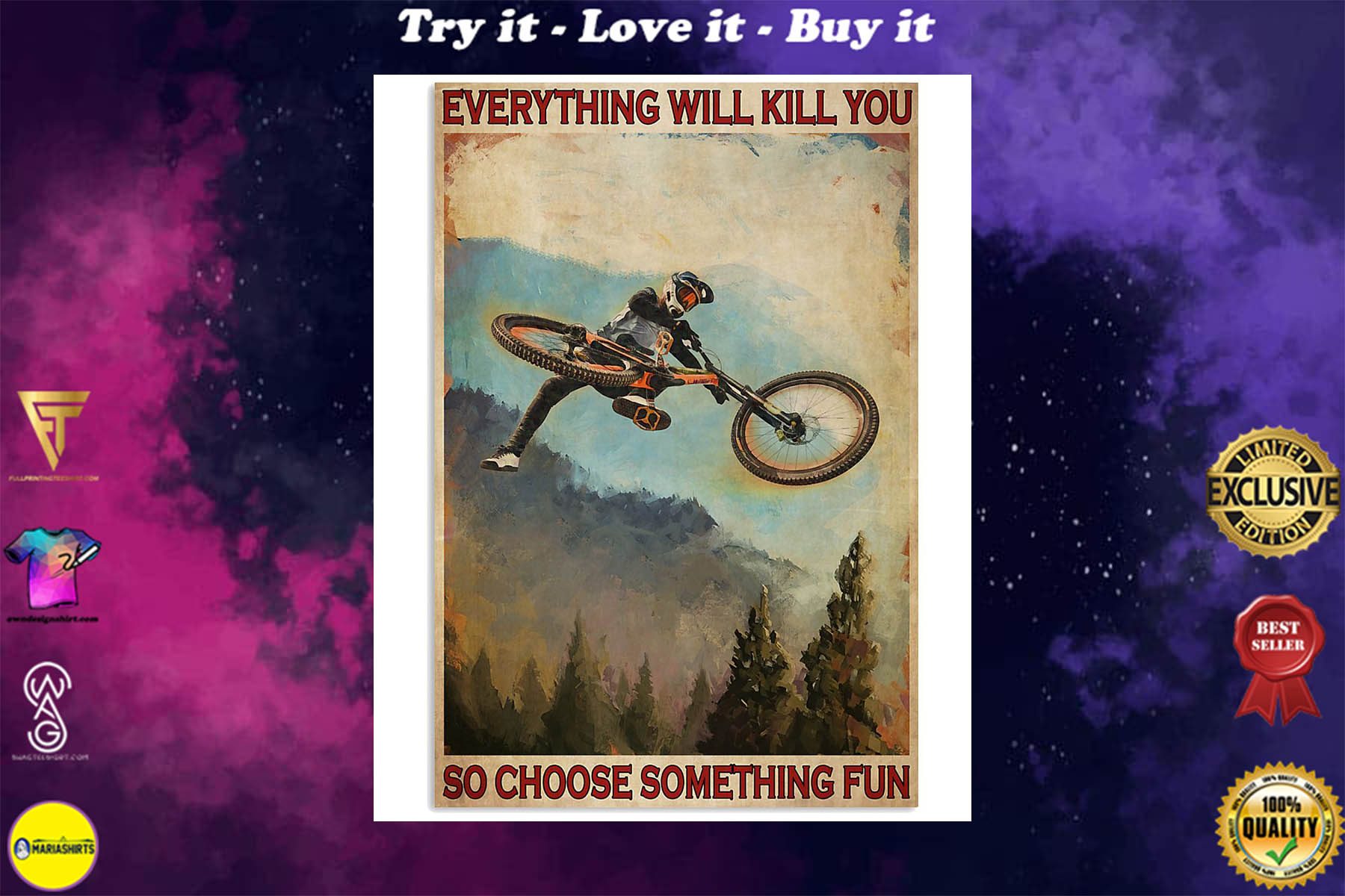 everything will kill you so choose something fun mountain biking retro poster
