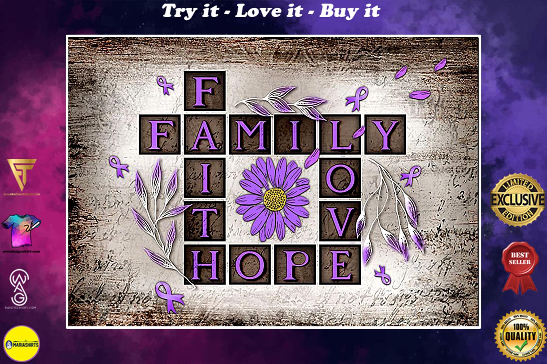 faith hope love family alzheimers disease poster