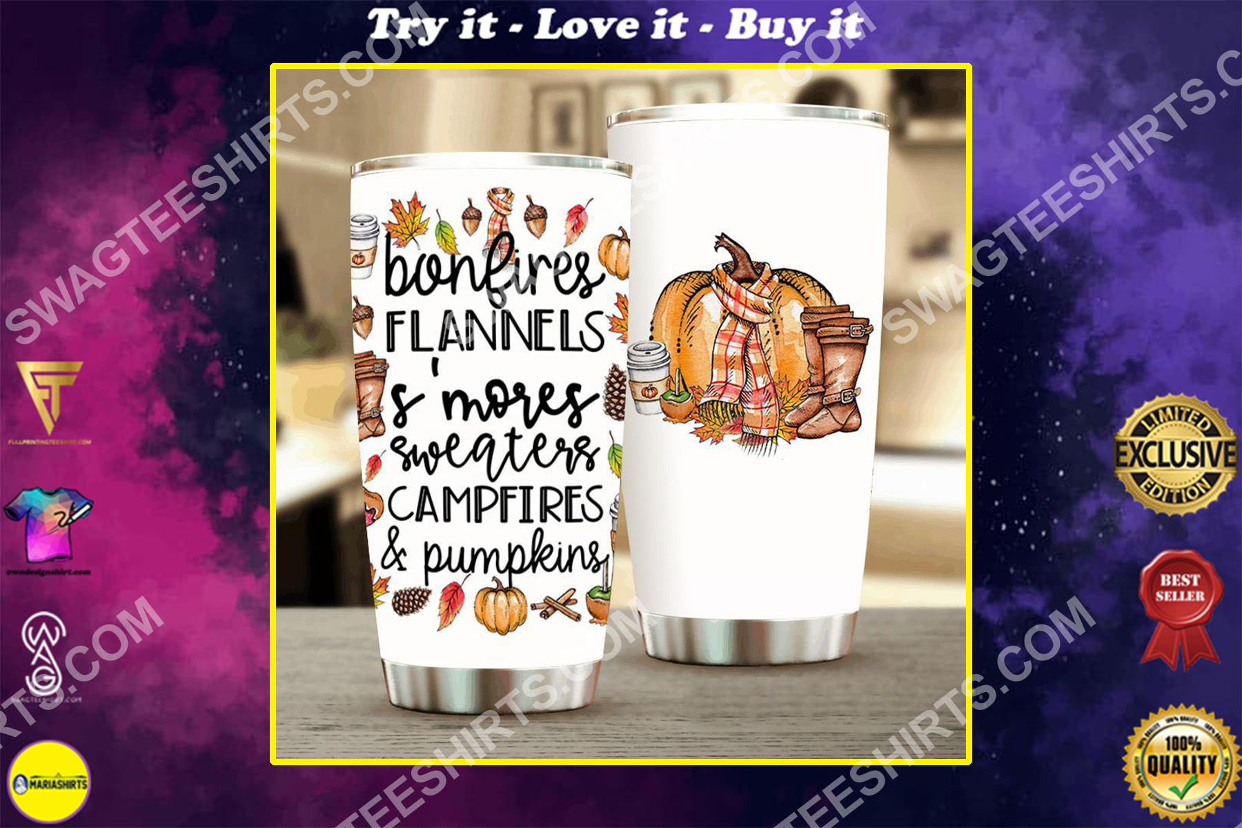 fall pumpkins all over printed stainless steel tumbler