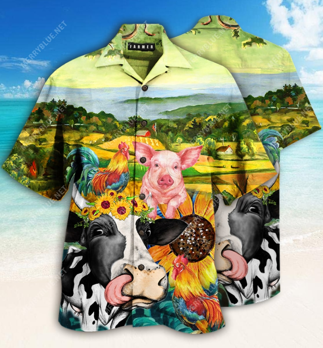 farmer animals all over printed hawaiian shirt 2