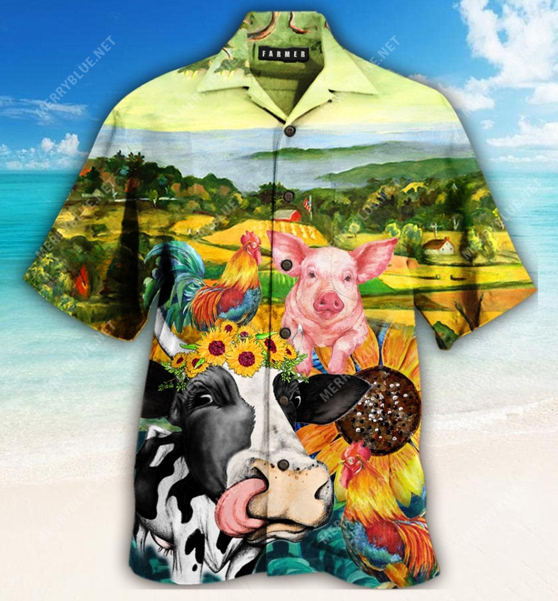 farmer animals all over printed hawaiian shirt 3