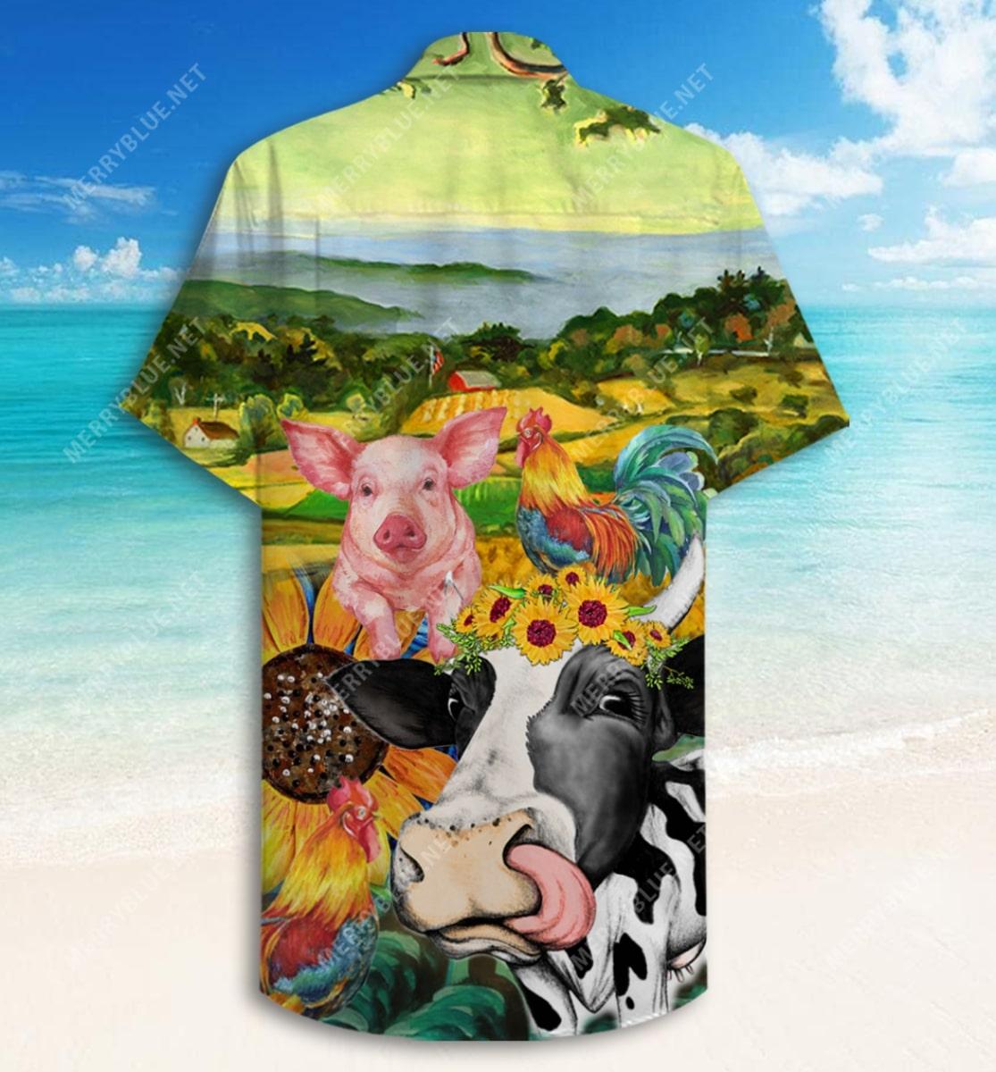 farmer animals all over printed hawaiian shirt 5