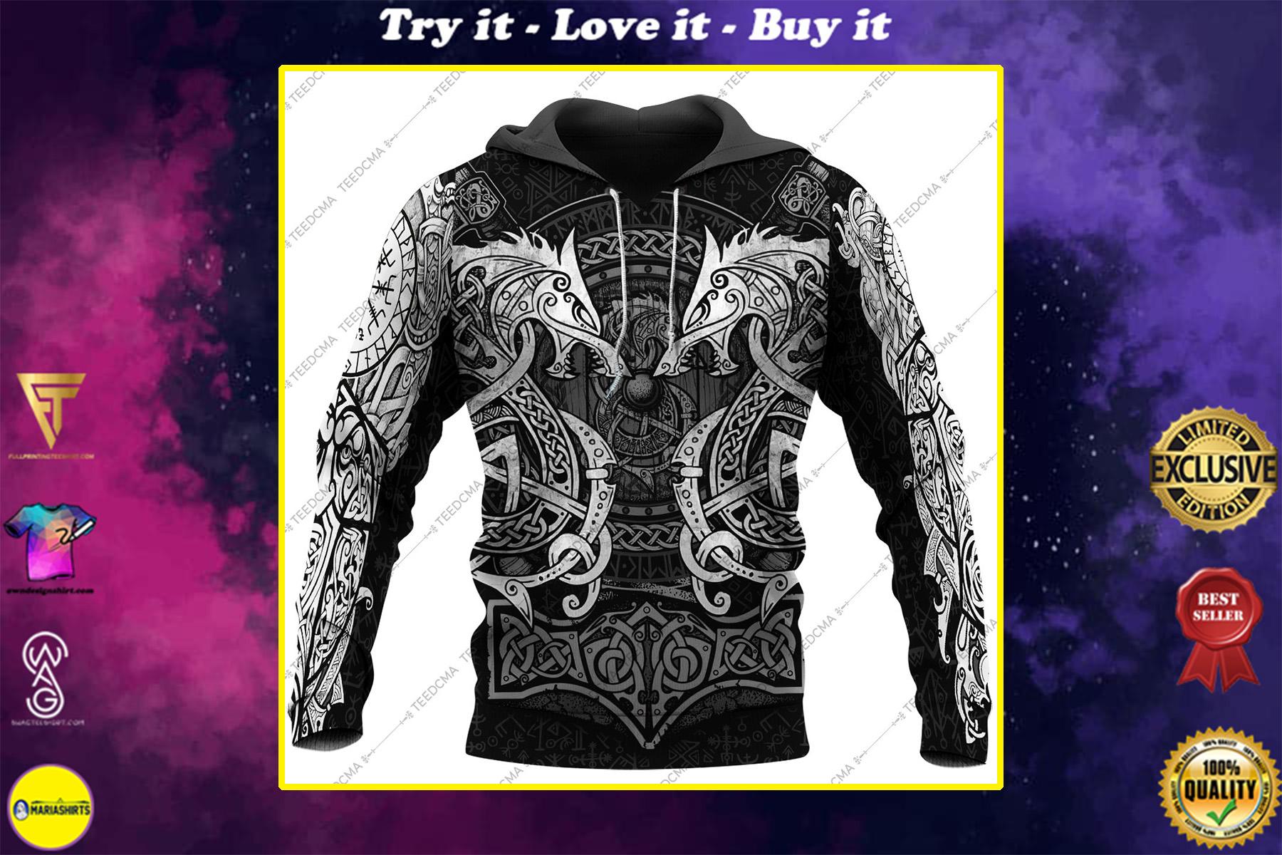 fenrir viking tattoo style all over printed shirt