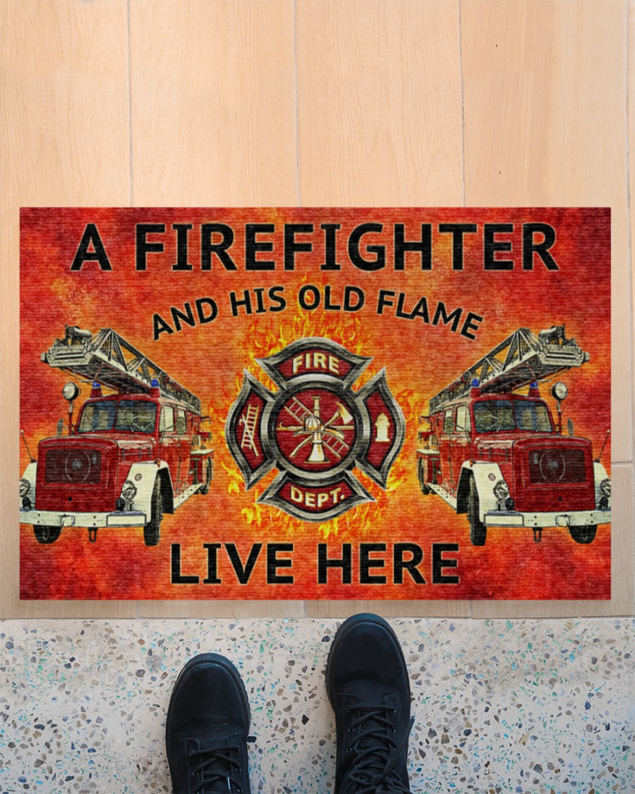 firefighter and his old flame live here full printing doormat 2