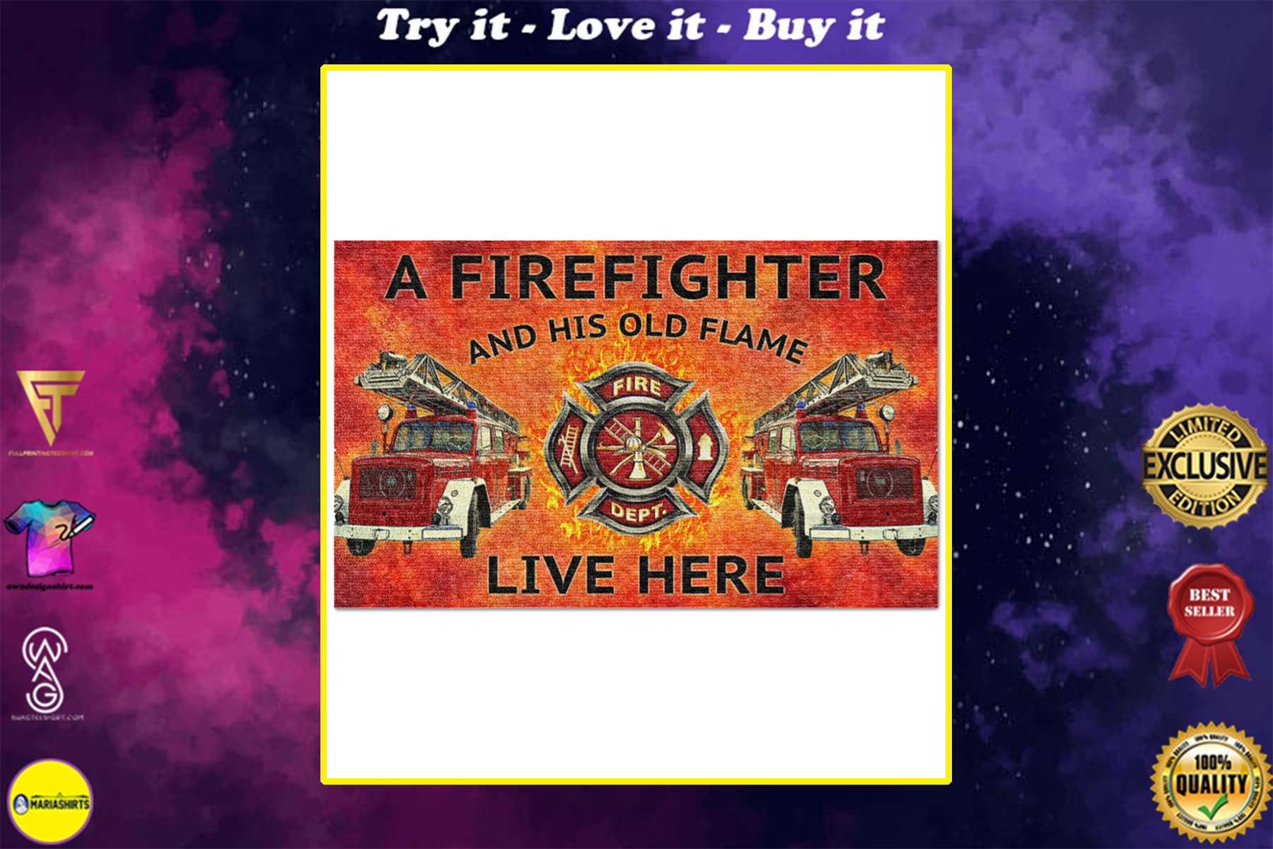 firefighter and his old flame live here full printing doormat