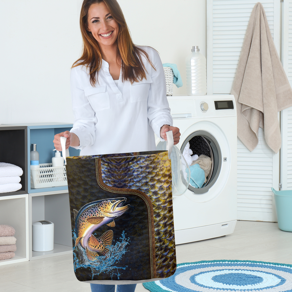 fishing all over printed laundry basket 2