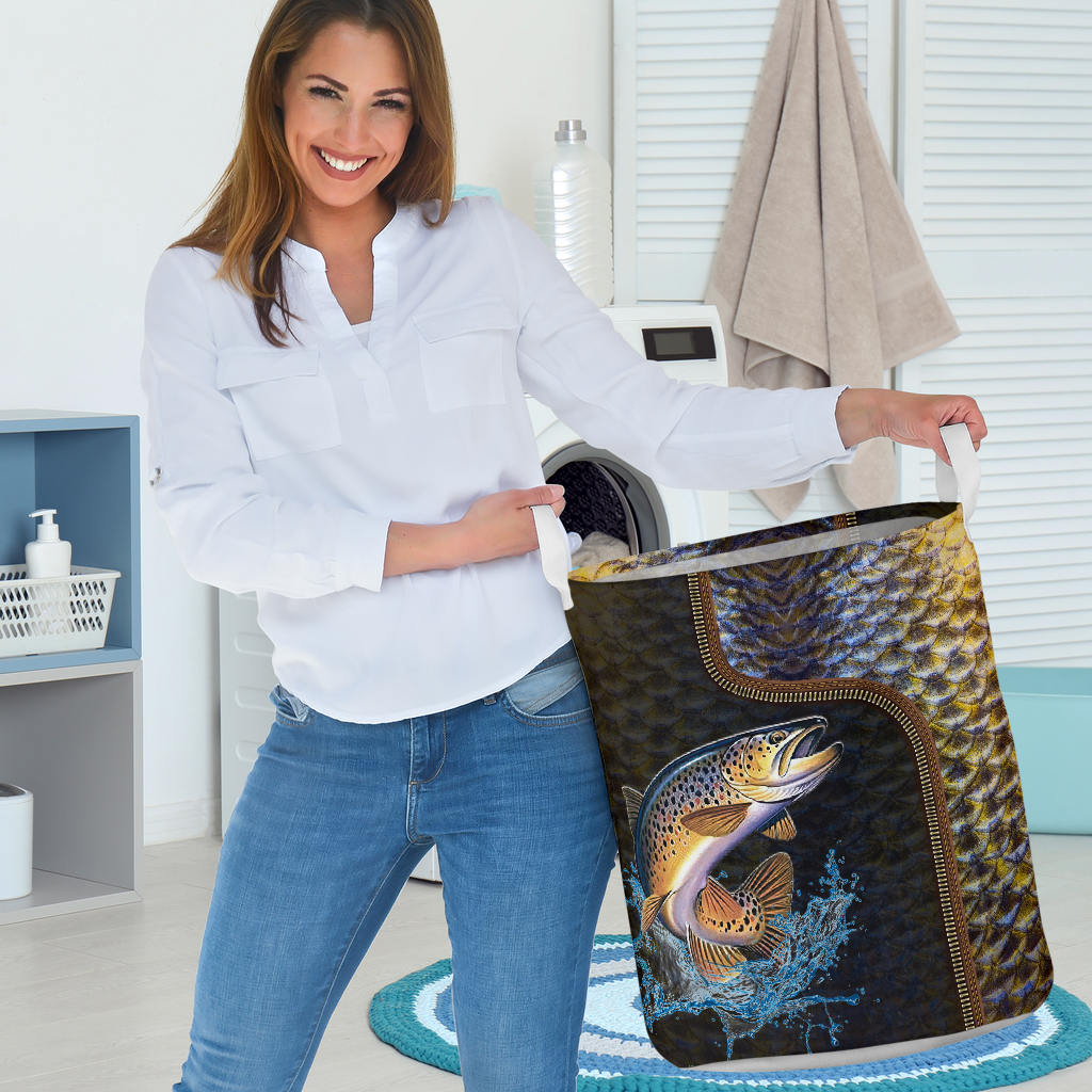 fishing all over printed laundry basket 4
