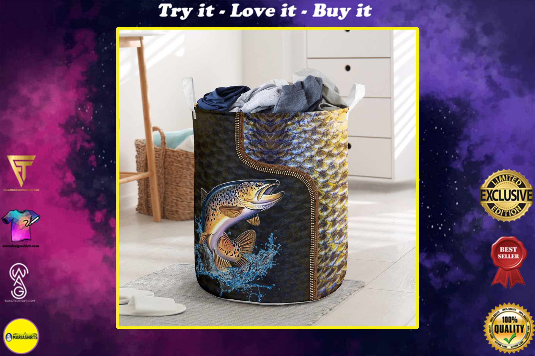 fishing all over printed laundry basket