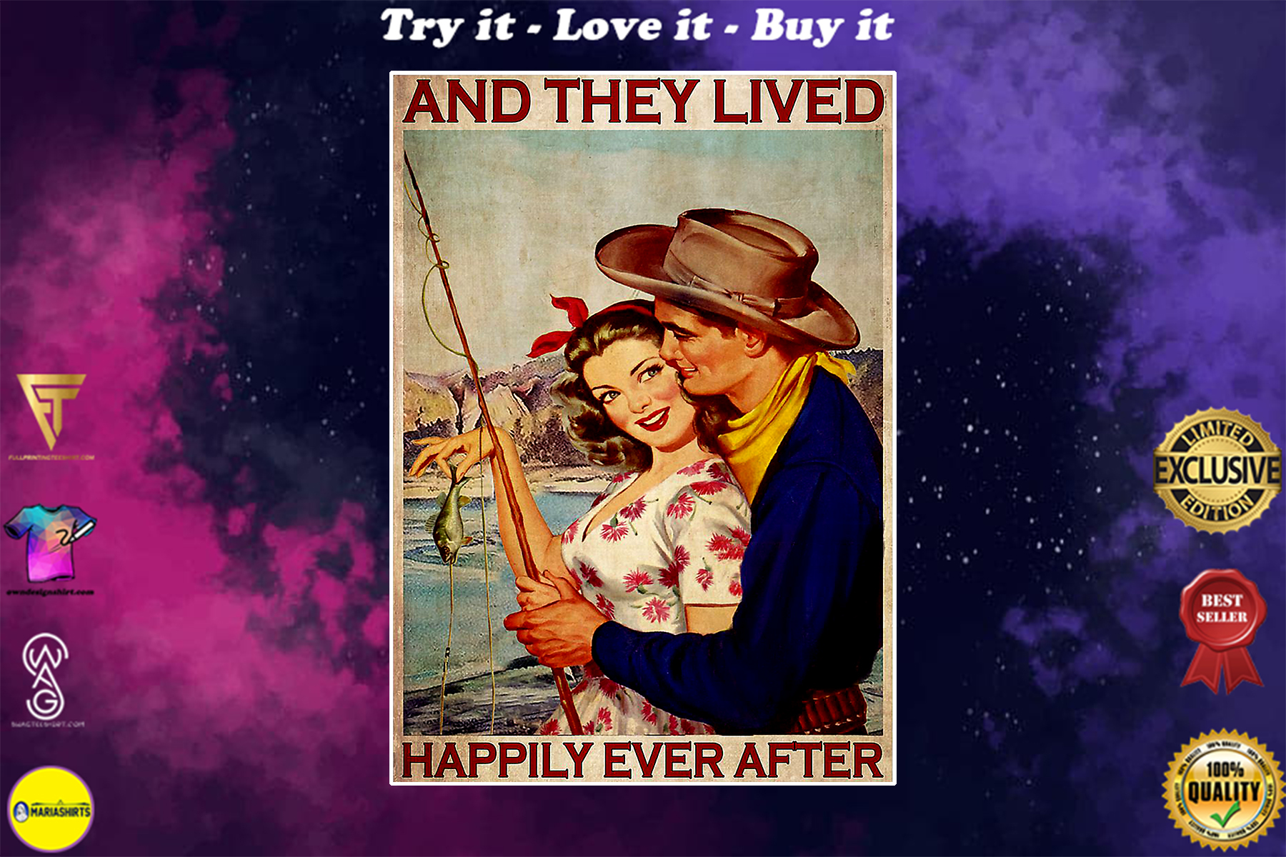 fishing couple and they lived happily ever after retro poster