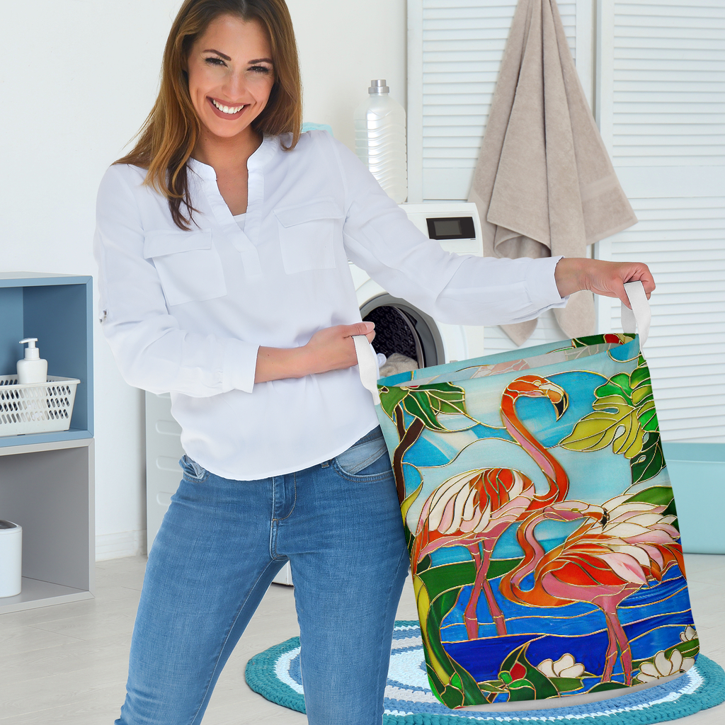 flamingo all over printed laundry basket 3
