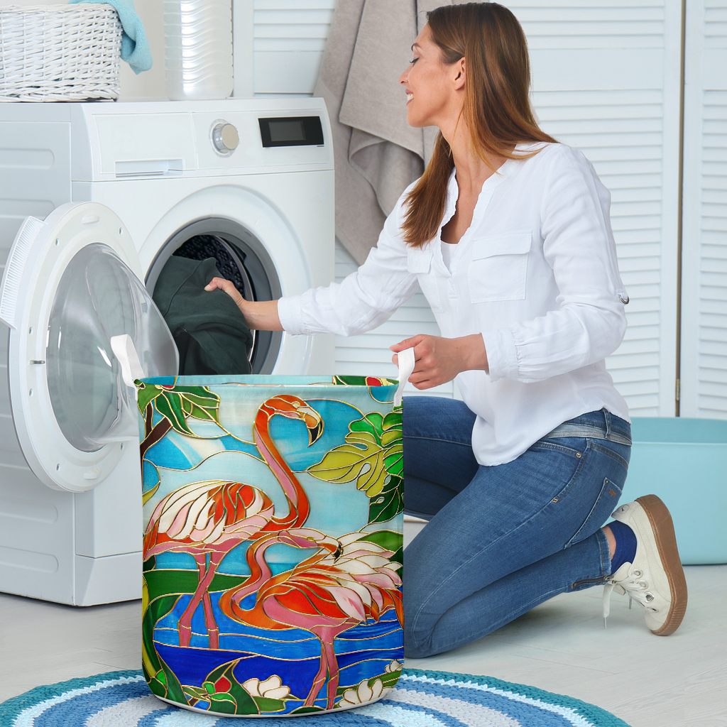 flamingo all over printed laundry basket 4