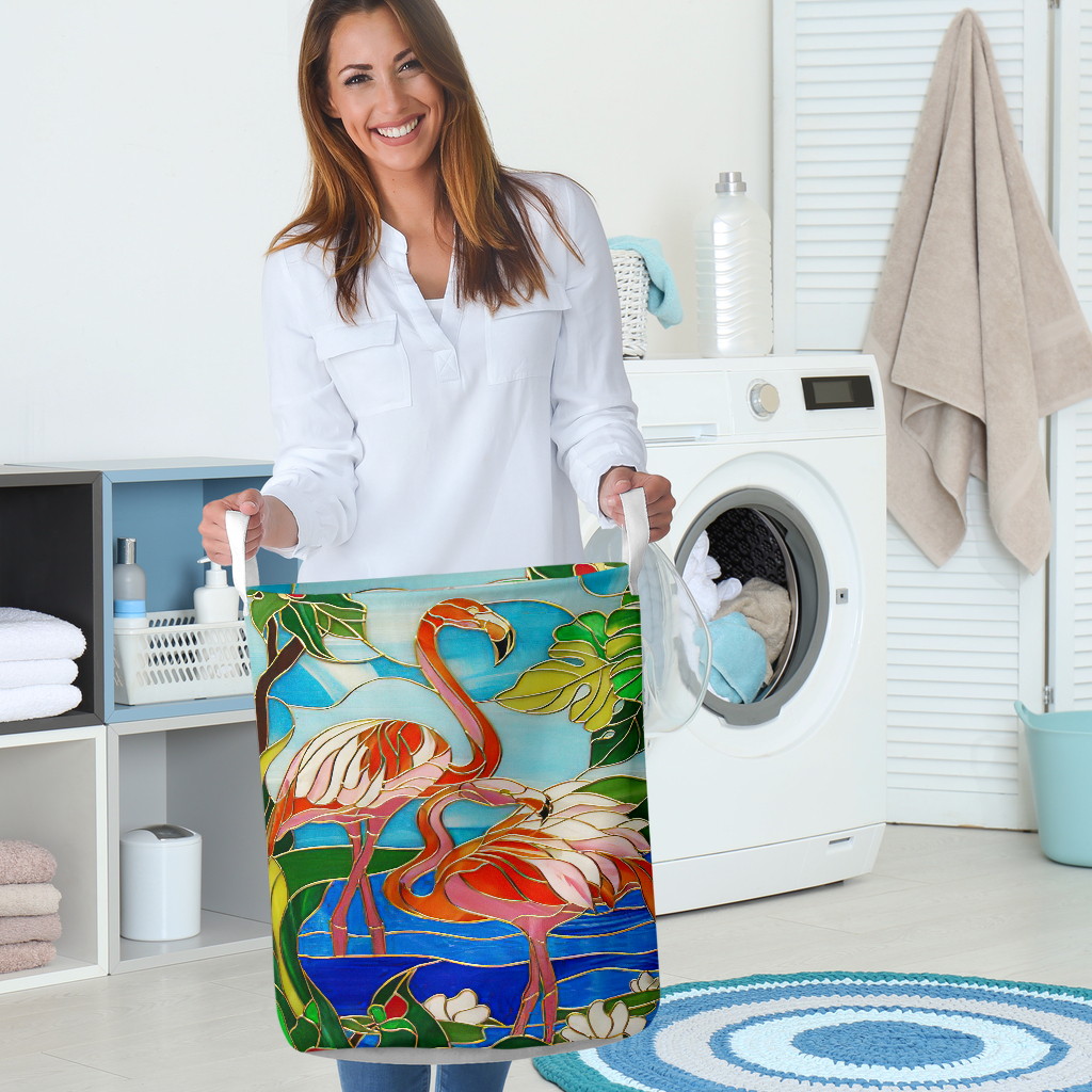 flamingo all over printed laundry basket 5