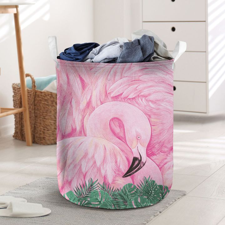 flamingo flower all over printed laundry basket 3