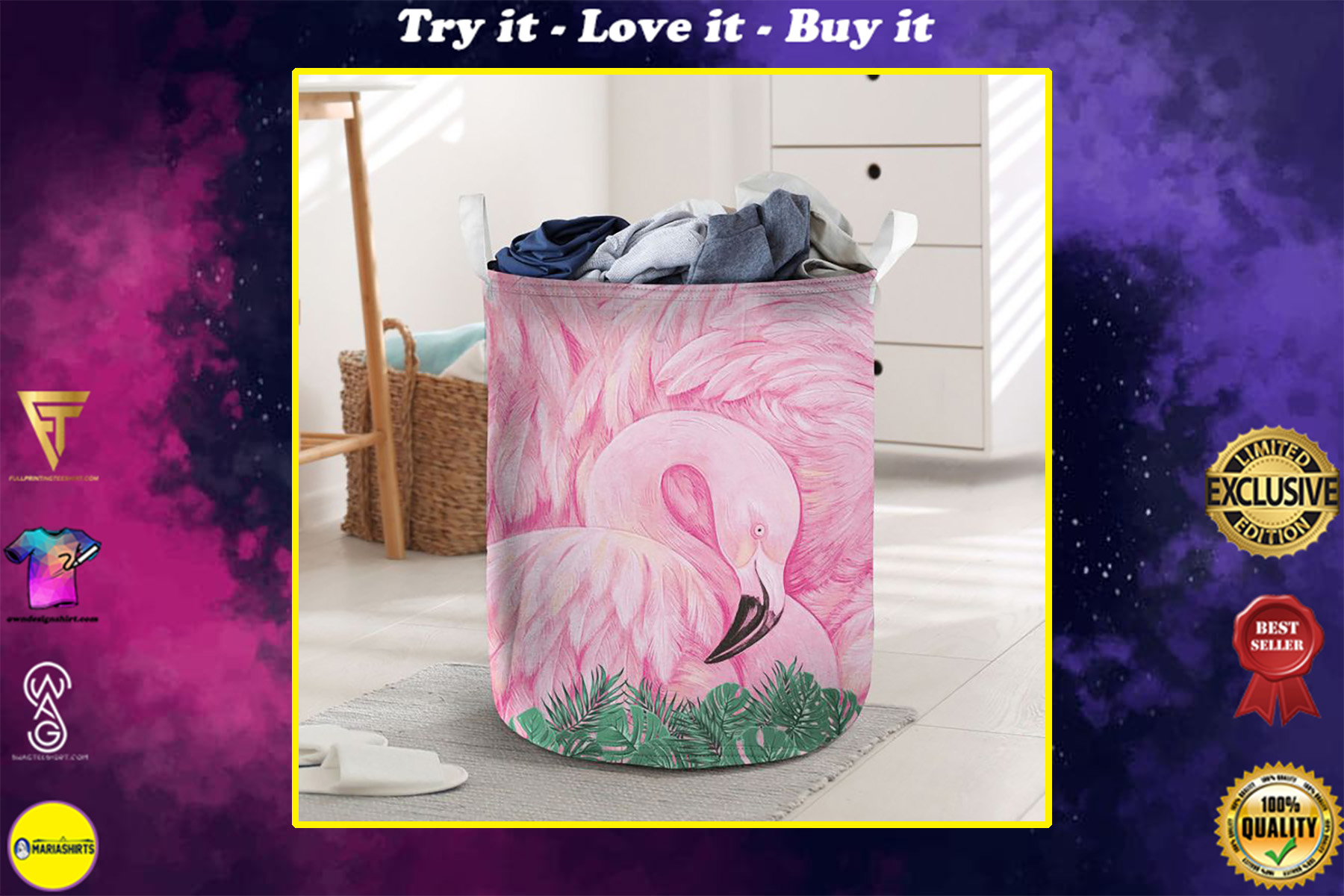 flamingo flower all over printed laundry basket
