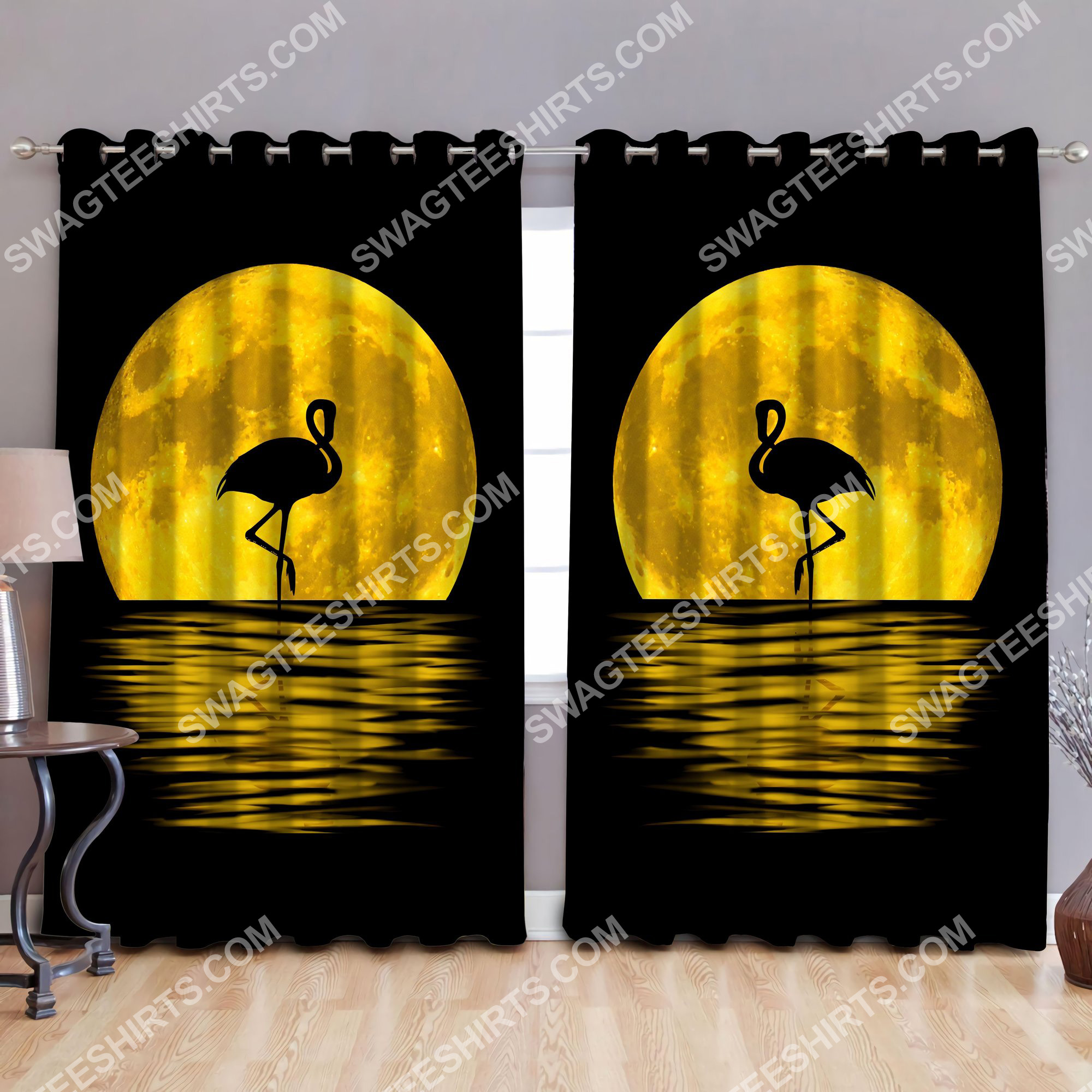 flamingo in the moon all over printed window curtains 3