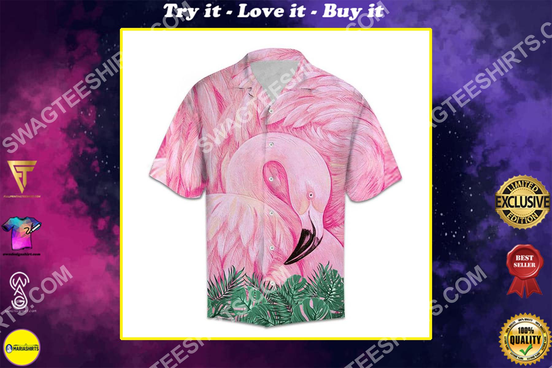 flamingo pink all over printed hawaiian shirt