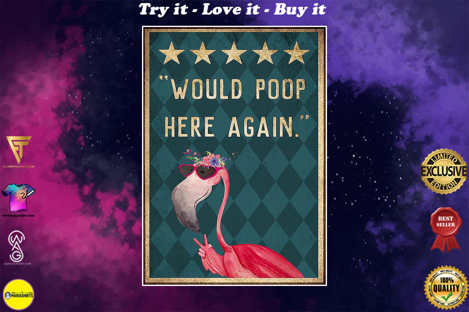 flamingo would poop here again vintage poster