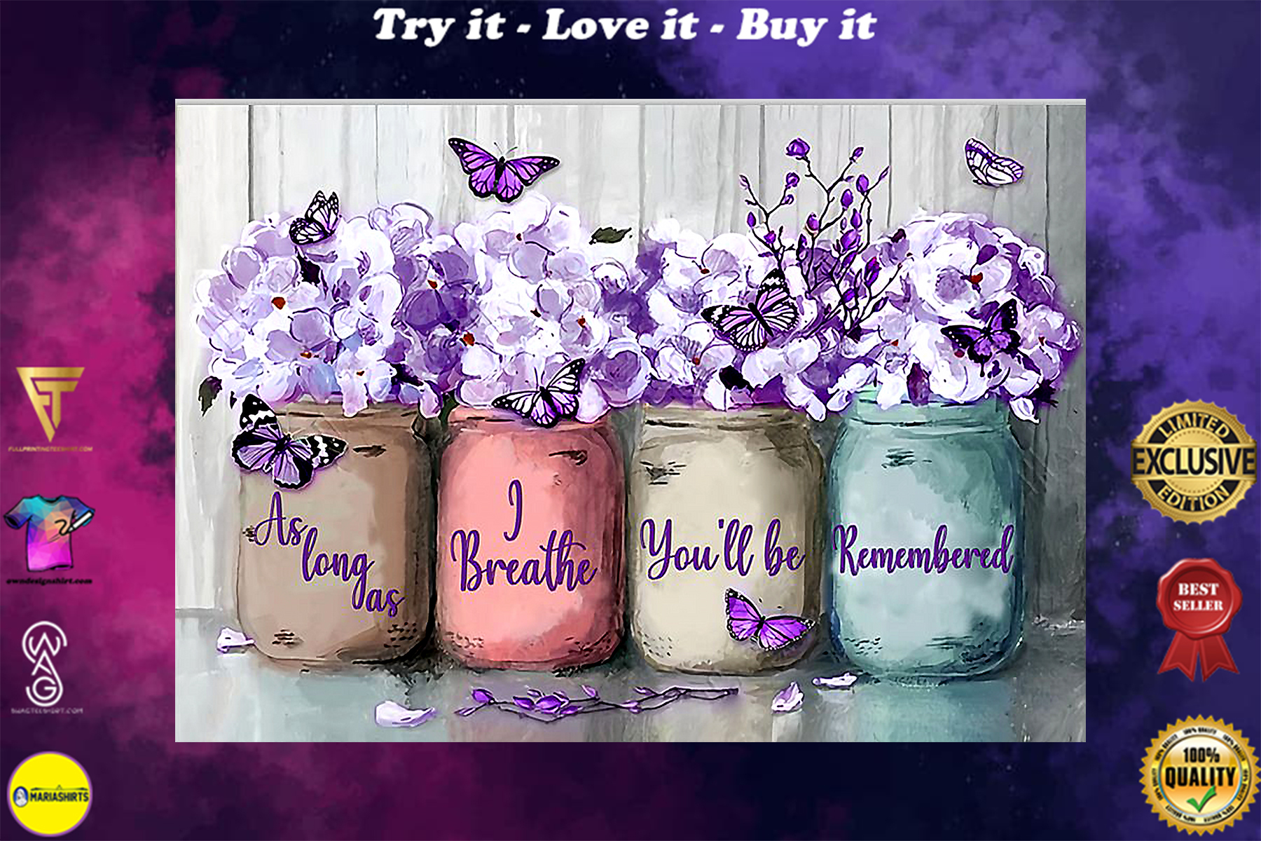 floral butterfly as long as i breathe youll be remembered poster