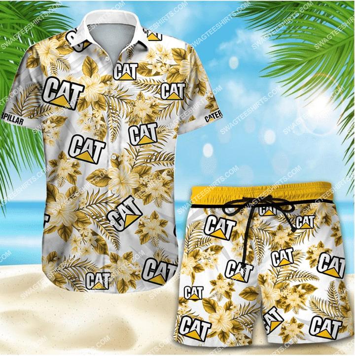 floral caterpillar full printing hawaiian shorts beach 1