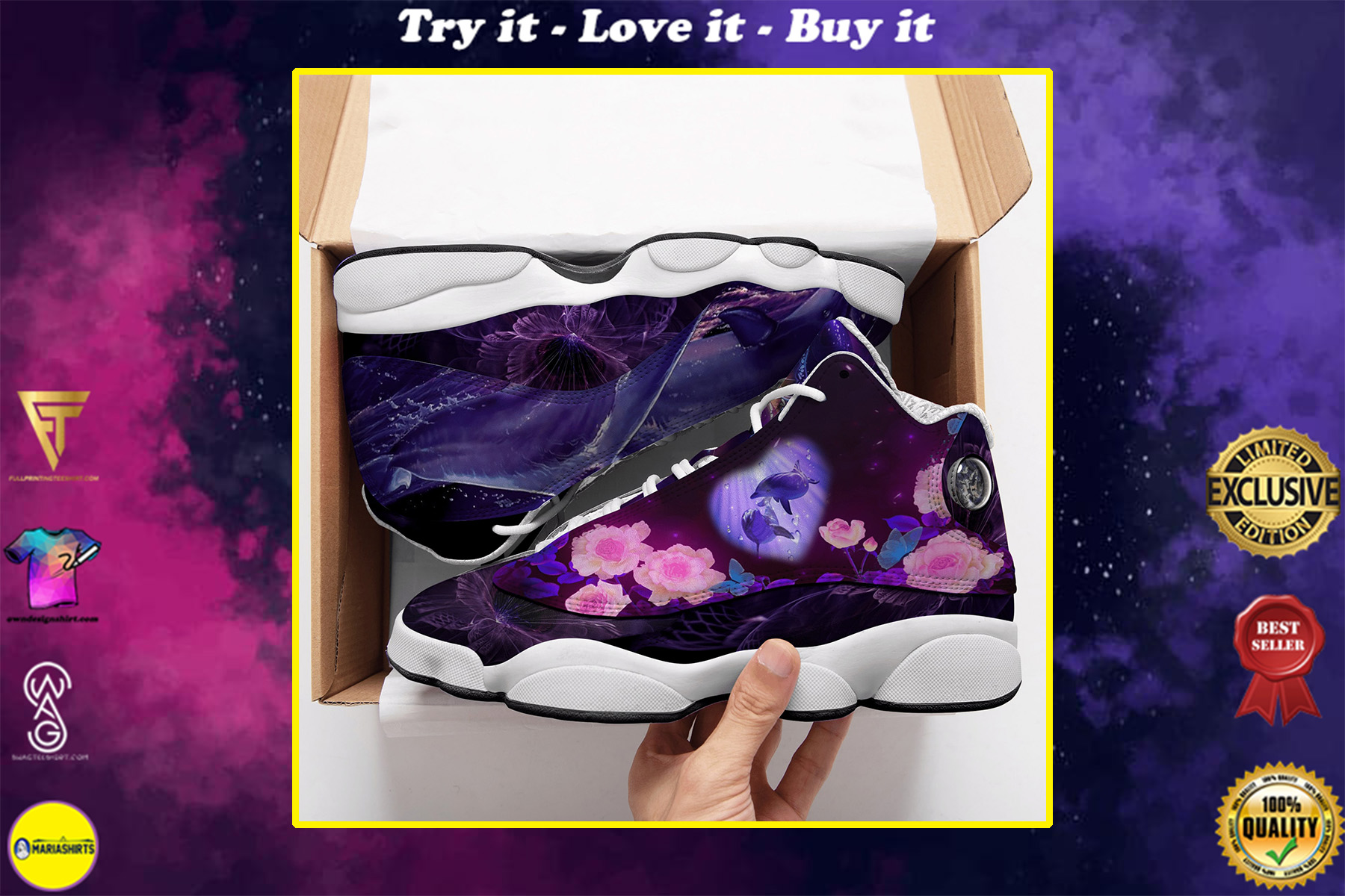 floral dolphin all over printed air jordan 13 sneakers