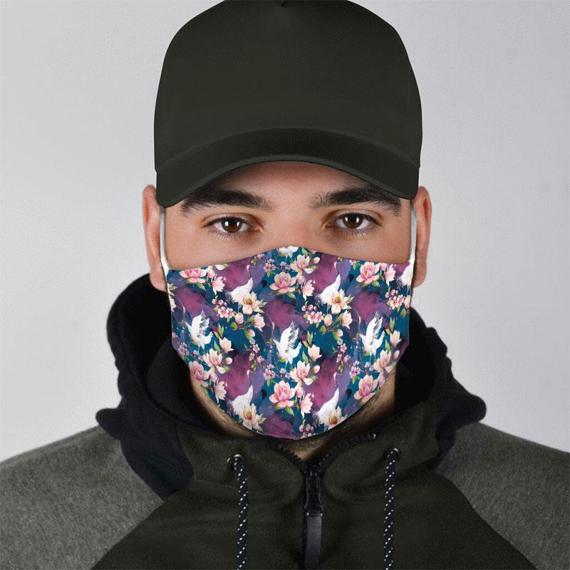 floral egret all over print face mask 4