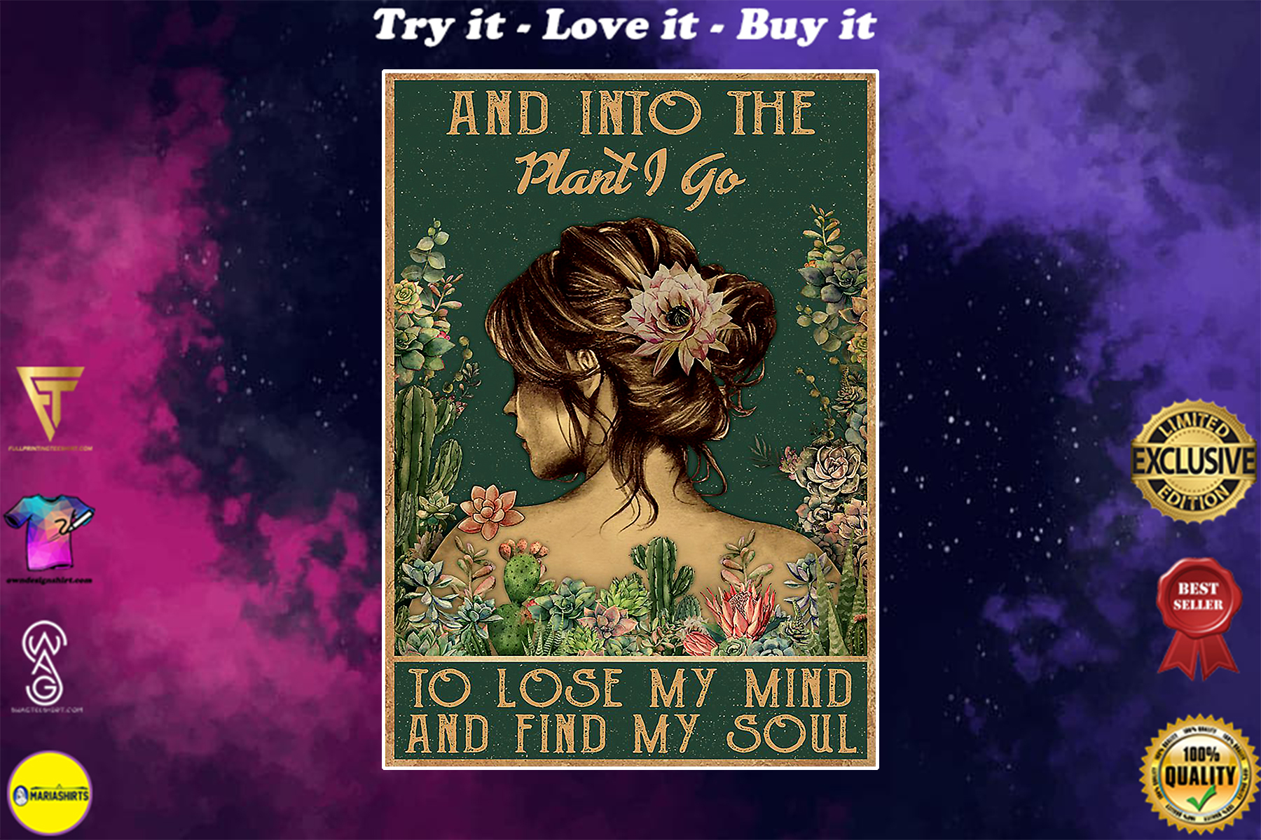 floral girl and into the plant i go to lose my mind and find my soul poster
