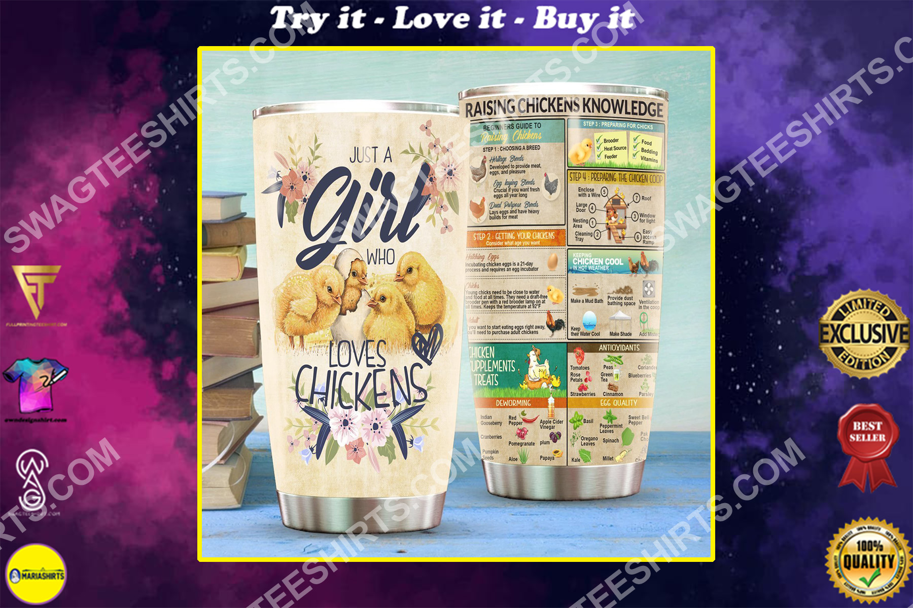 floral just a girl who loves chickens all over printed stainless steel tumbler