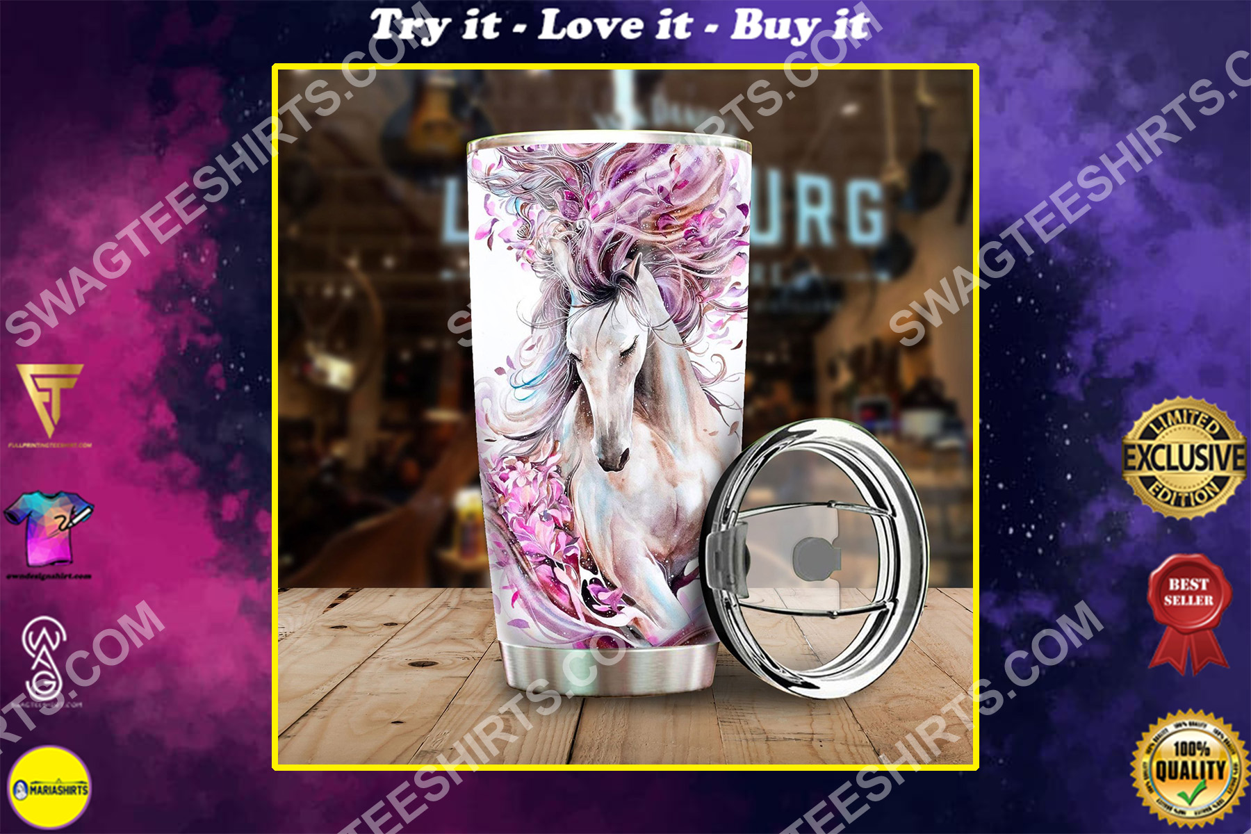 floral white horse all over printed stainless steel tumbler