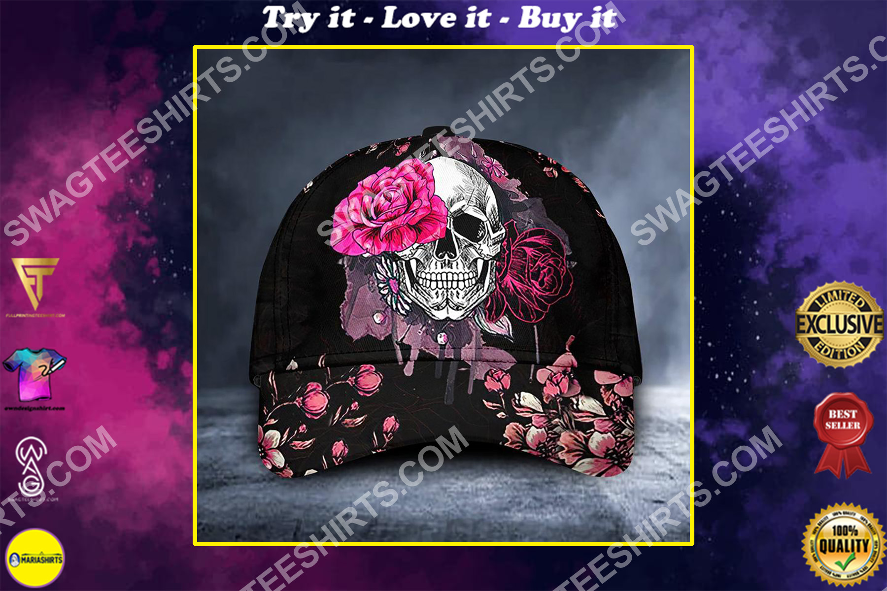 flower and skull all over printed classic cap