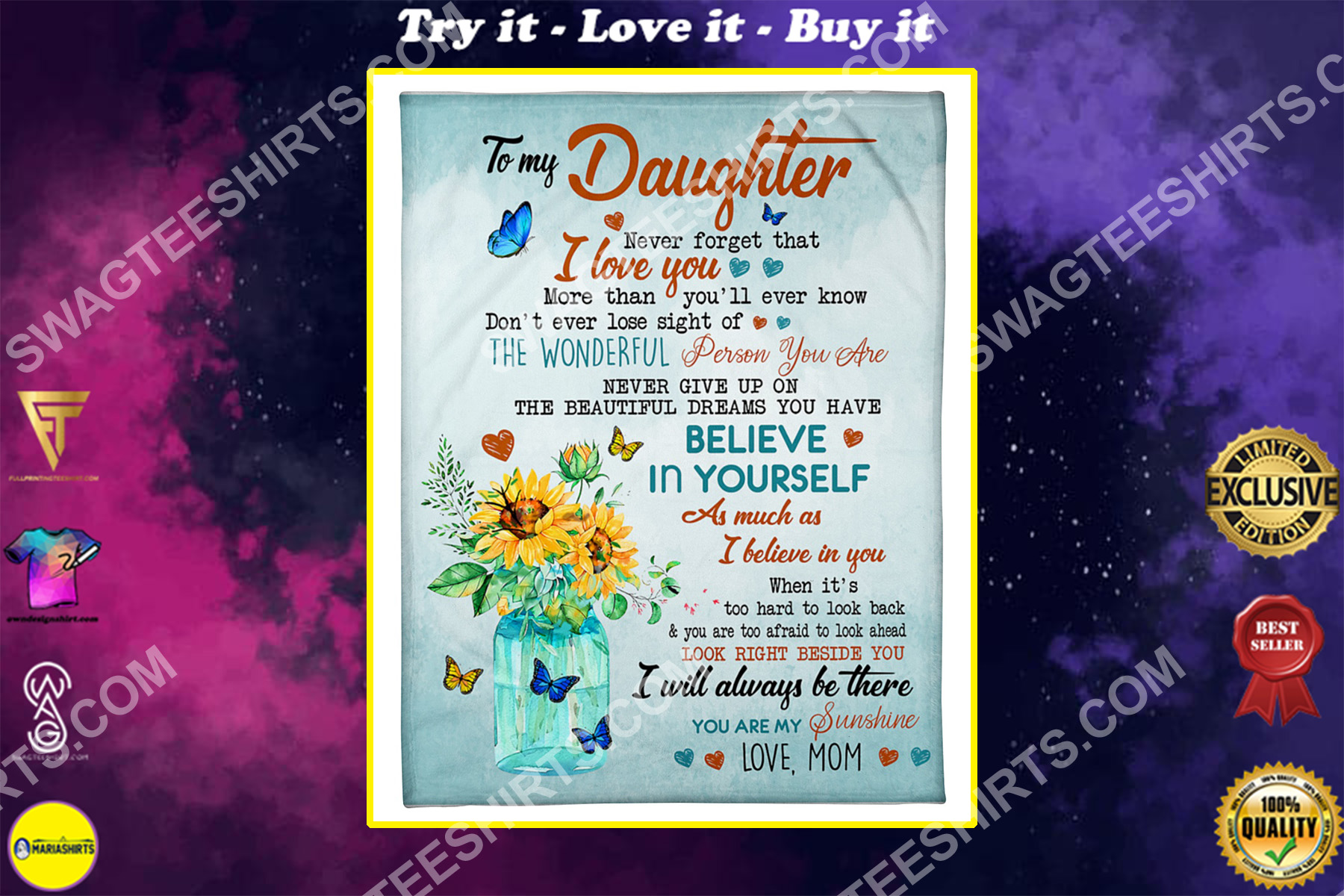 flower butterfly to my daughter never forget that i love you your mom blanket
