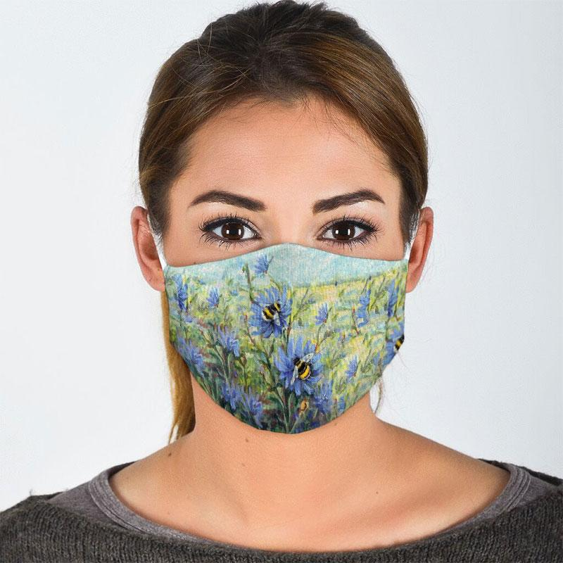 flower garden and bee all over print face mask 2