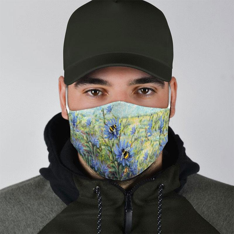 flower garden and bee all over print face mask 4