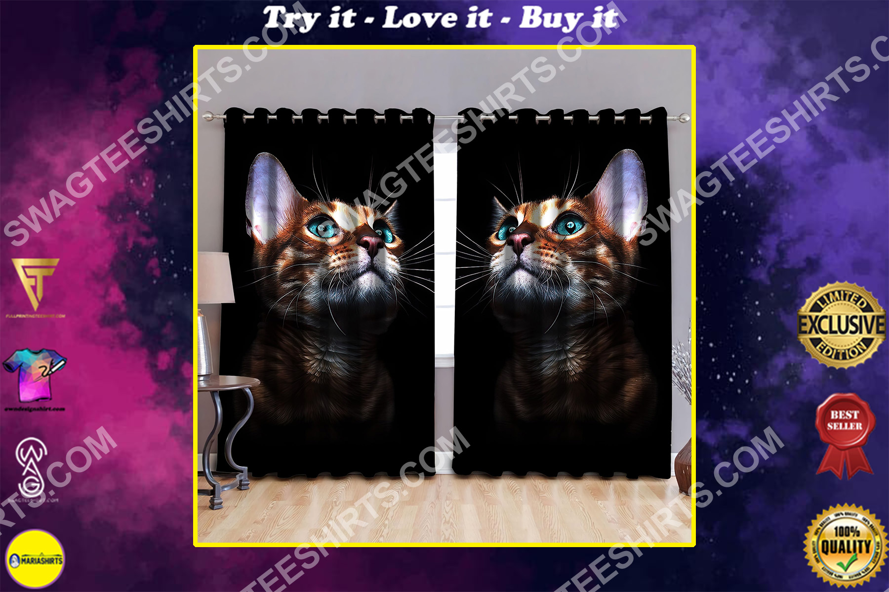 for cat lover all over printed window curtains