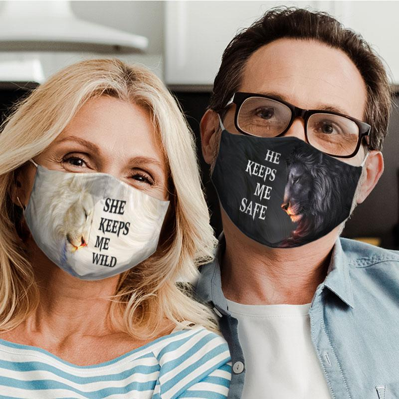 for couple lion he keeps me safe all over print face mask 4
