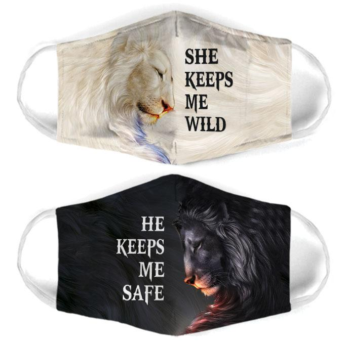 for couple lion she keeps me wild all over print face mask 2