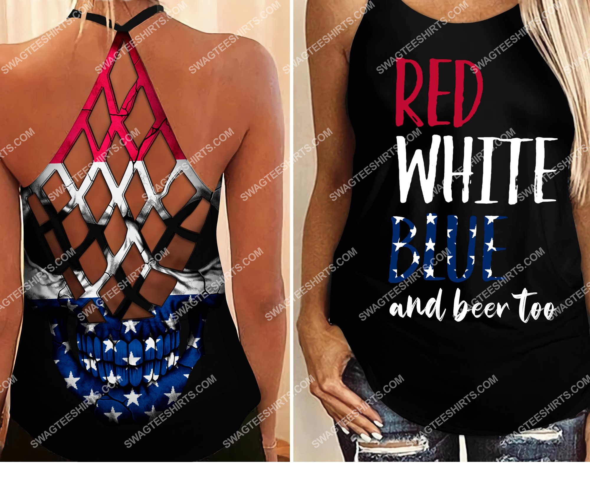 fourth of july red white blue and beer too all over printed strappy back tank top 2