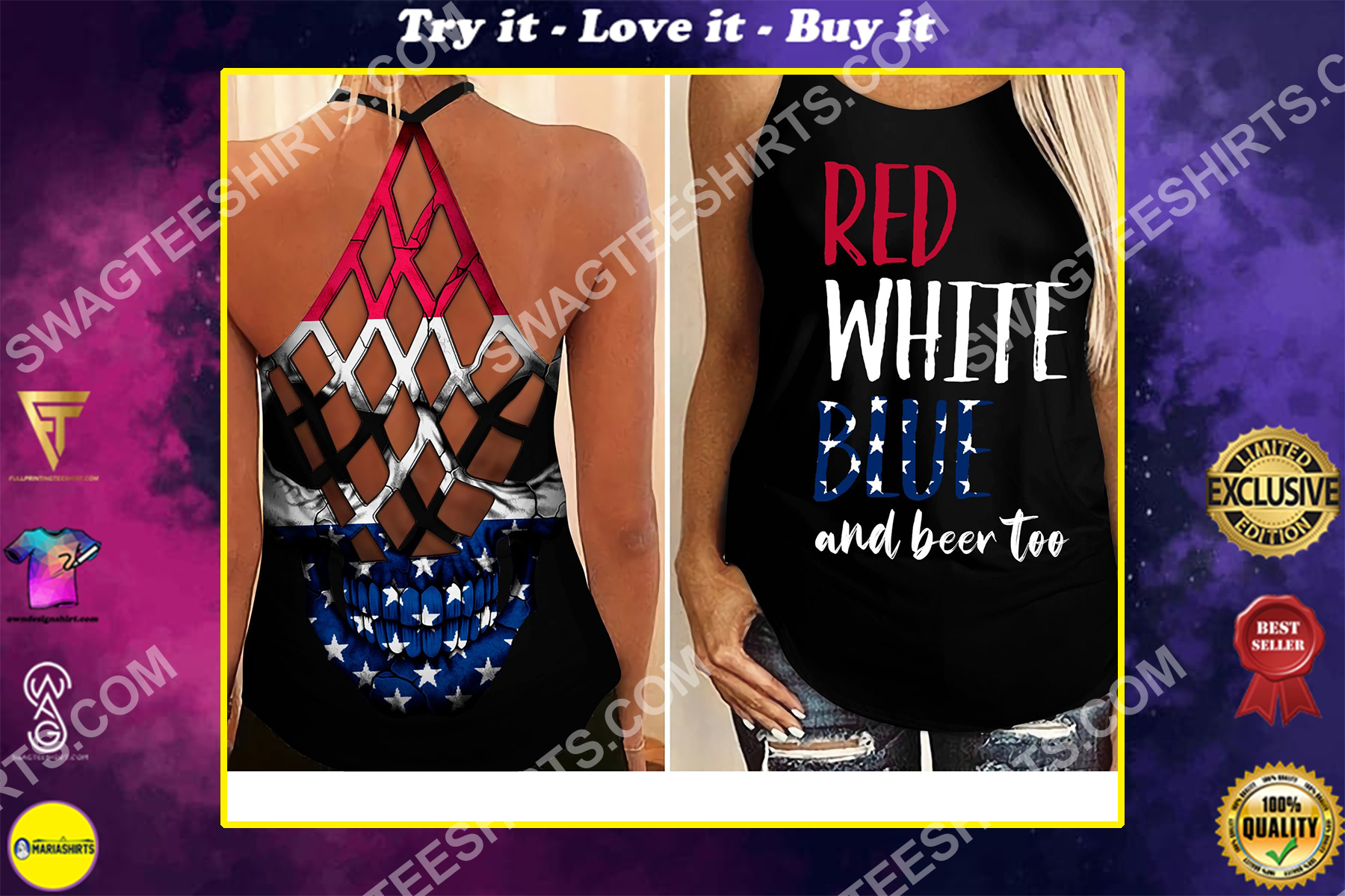 fourth of july red white blue and beer too all over printed strappy back tank top