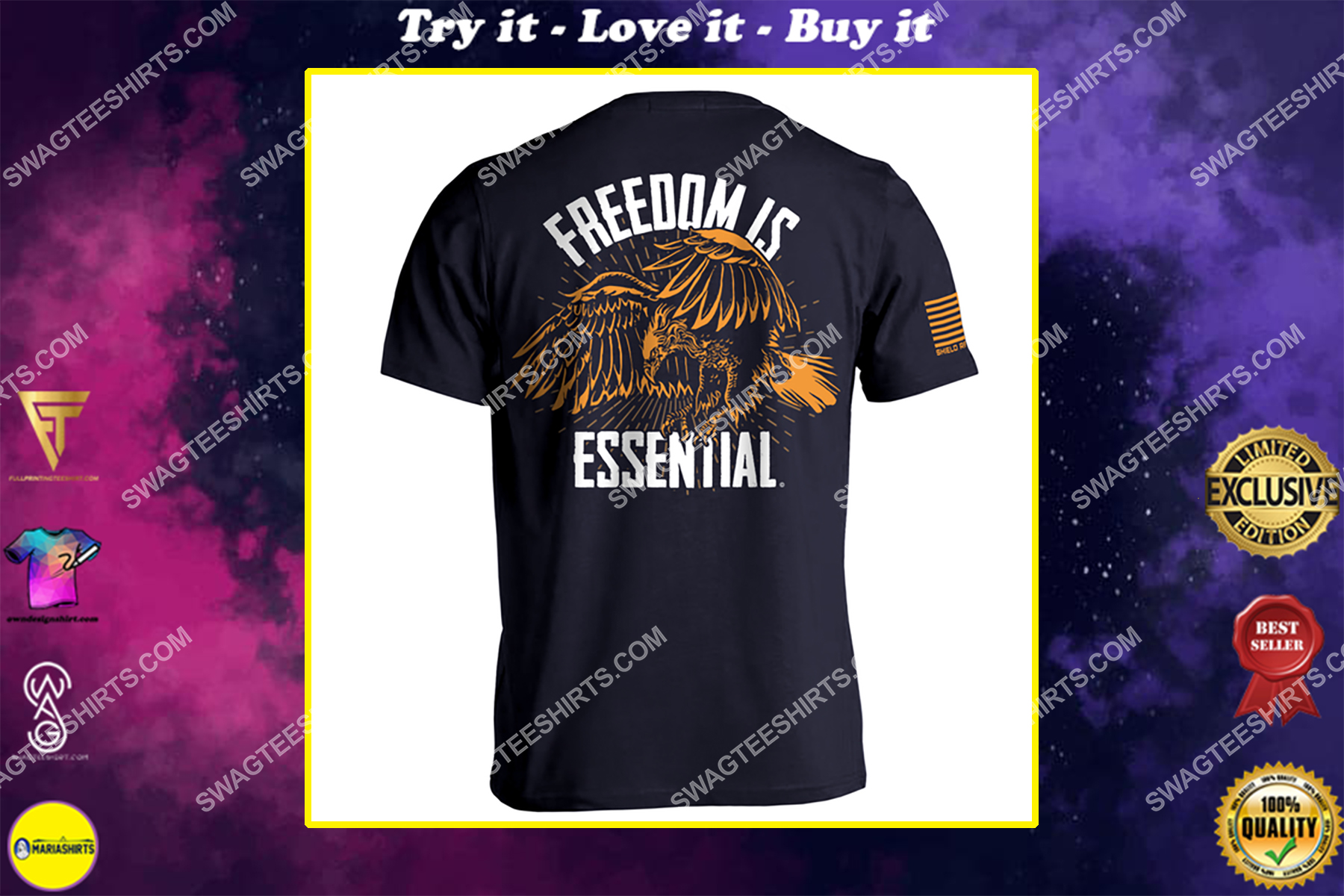 freedom is essential eagle vintage style political shirt