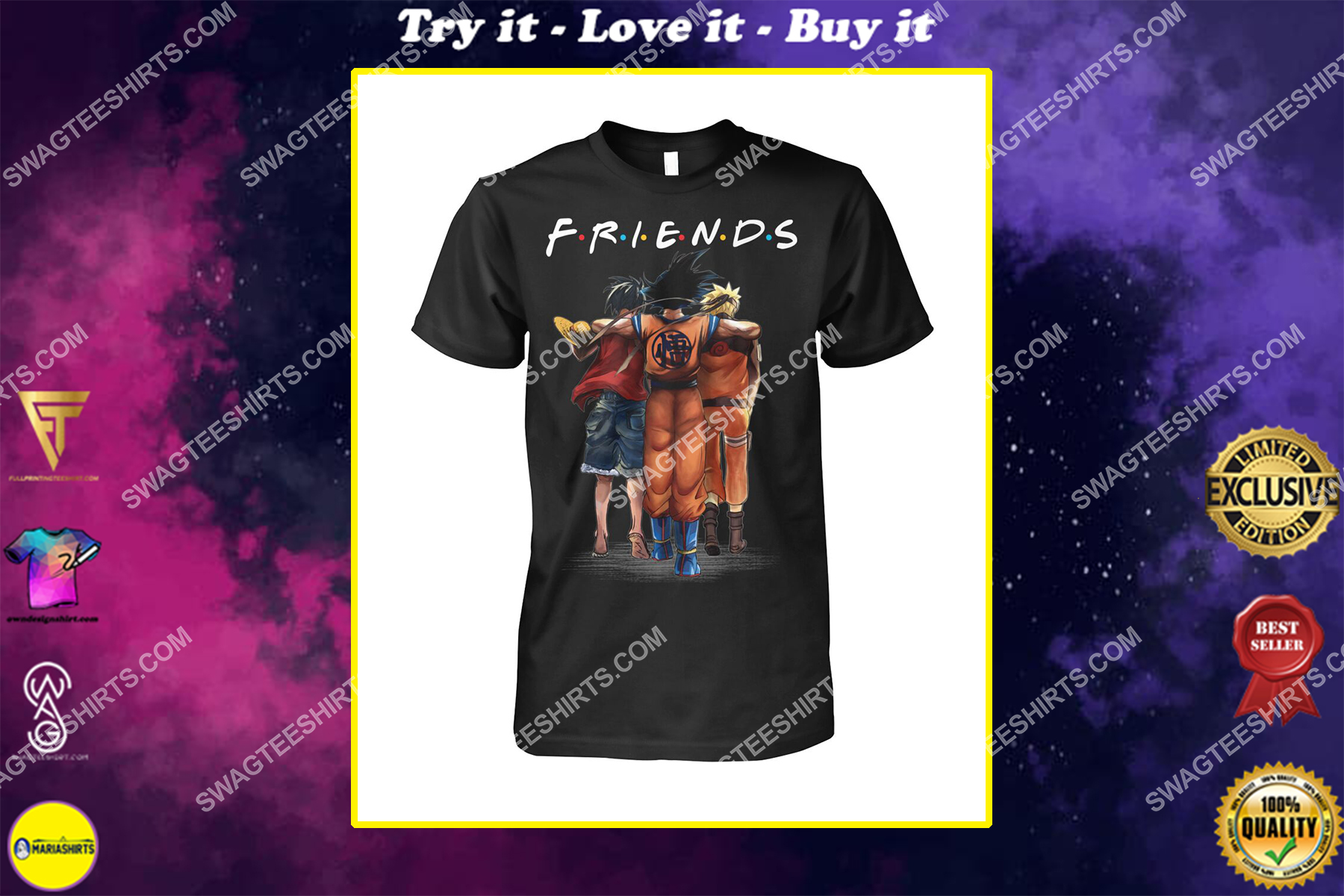 friends tv show luffy goku and naruto shirt