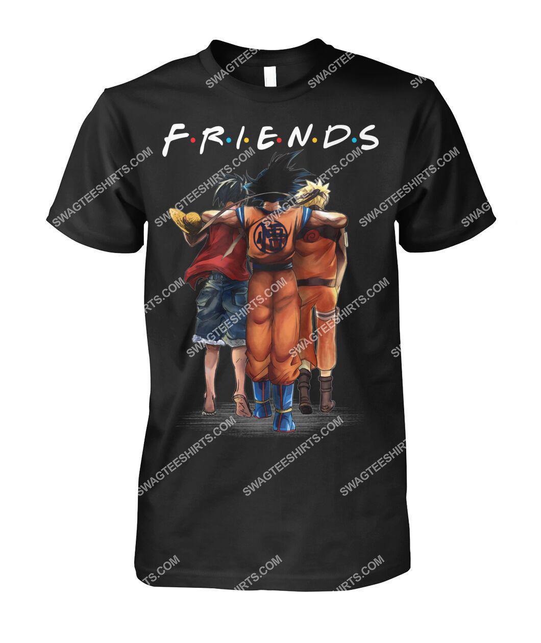 friends tv show luffy goku and naruto tshirt 1