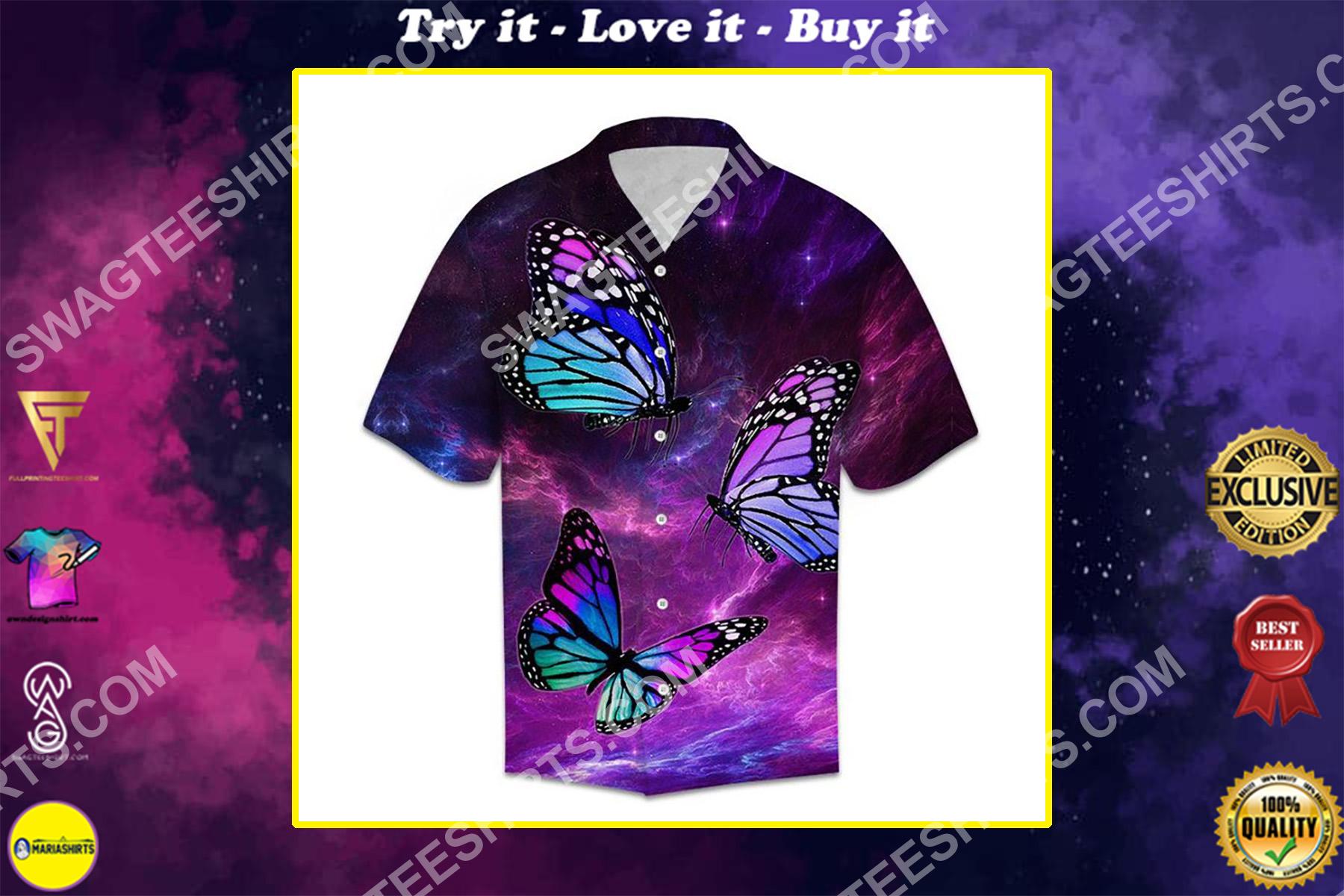 galaxy butterfly all over printed hawaiian shirt