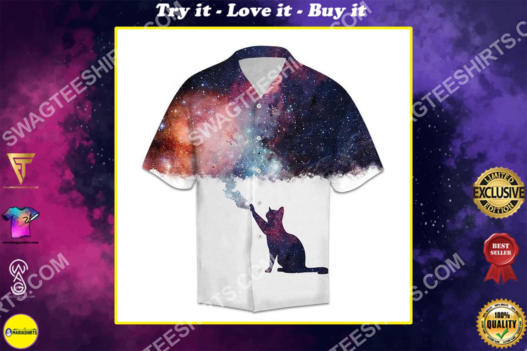 galaxy cat lover all over printed hawaiian shirt