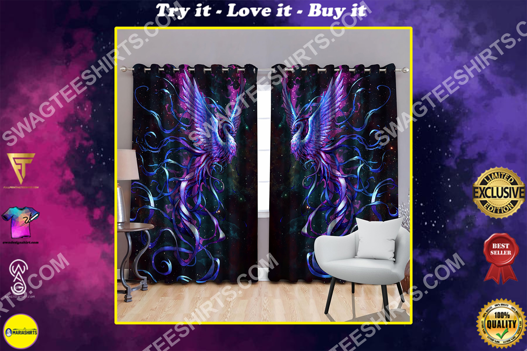 galaxy phoenix all over printed window curtains