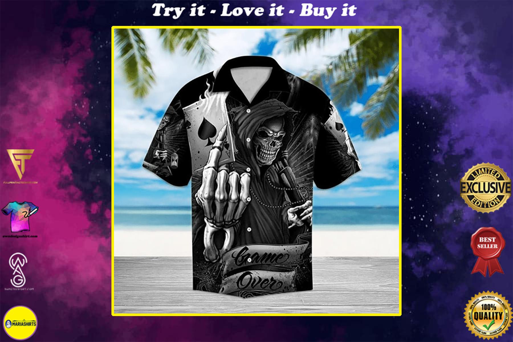 game over death skull all over printed hawaiian shirt