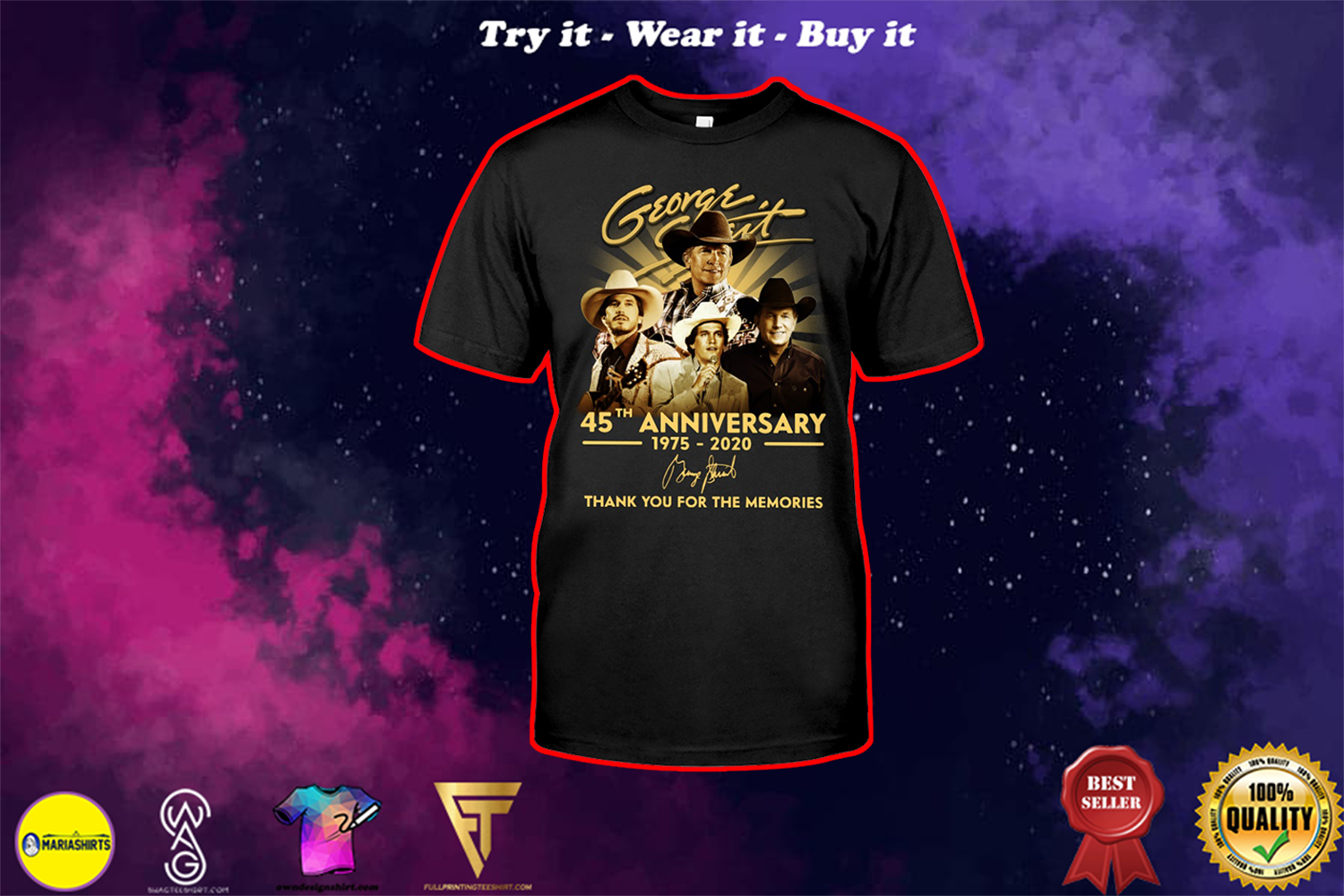 george strait 45th anniversary 1975-2020 thank you for the memories shirt