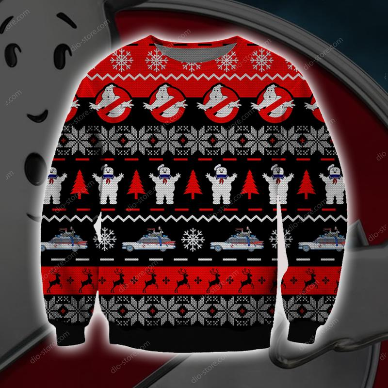 ghostbusters all over printed ugly christmas sweater 3