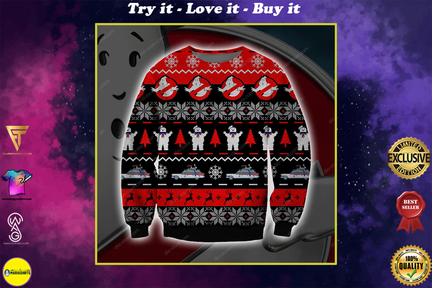 ghostbusters all over printed ugly christmas sweater
