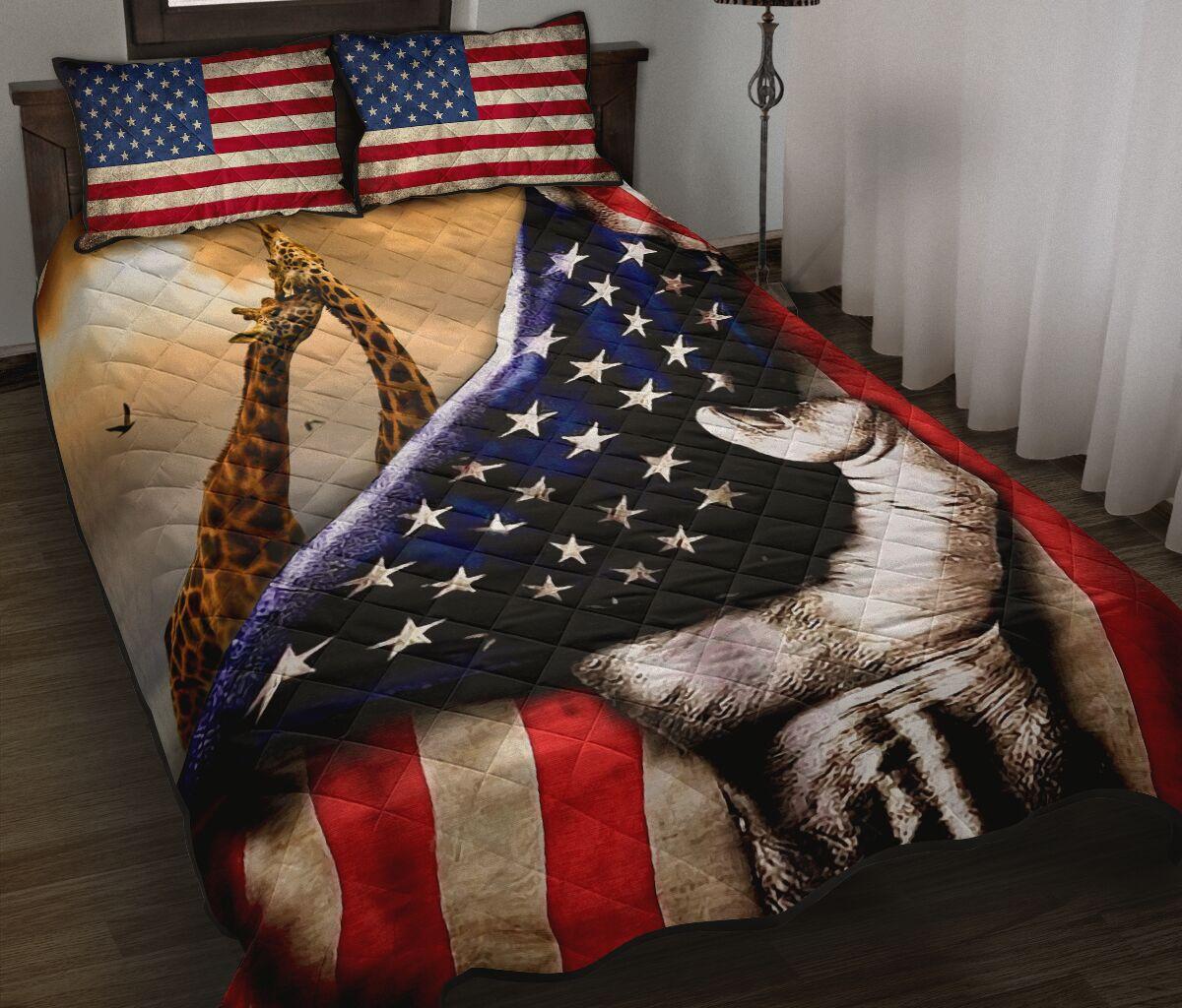 giraffe in american flag full over print quilt 2