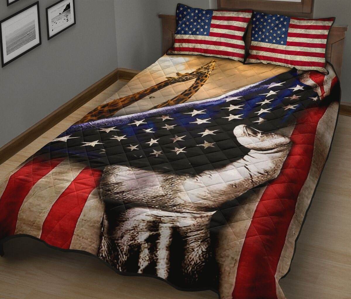 giraffe in american flag full over print quilt 3