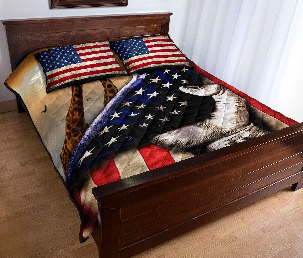 giraffe in american flag full over print quilt 4
